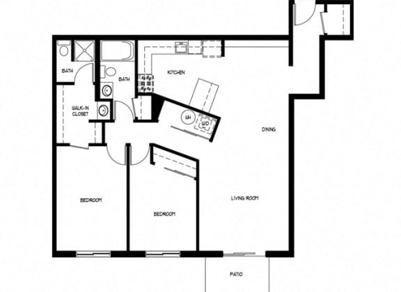Floor Plan  Two Bedroom 2 Bath E