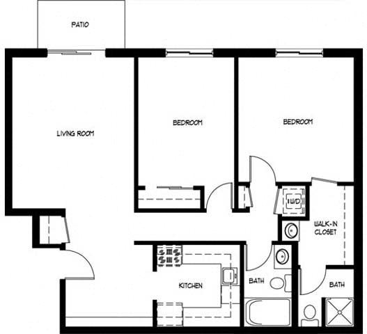 Floor Plan  Two Bedroom 2 Bath C