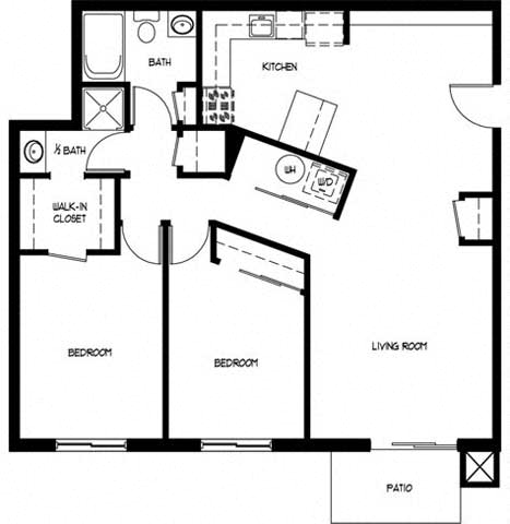 Floor Plan  Two Bedroom 1.5 Bath C