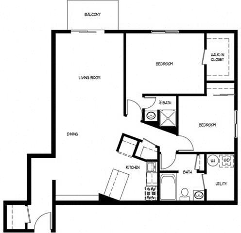 Floor Plan  Two Bedroom 1.5 Bath E