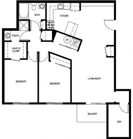 Floor Plan  Two Bedroom 1.5 Bath C With Den