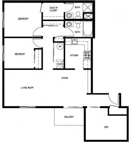 Floor Plan  Two Bedroom 2 Bath A With Den
