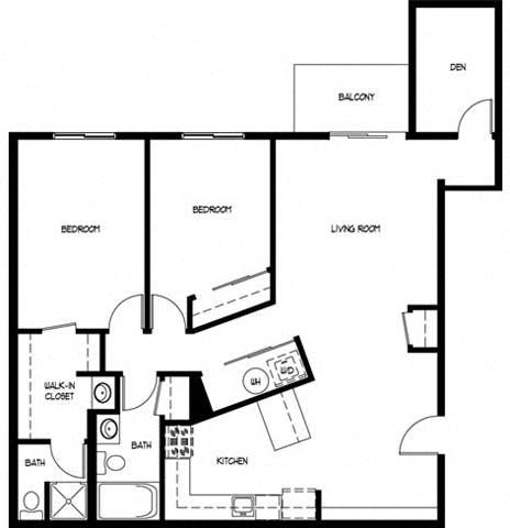 Floor Plan  Two Bedroom 2 Bath D With Den