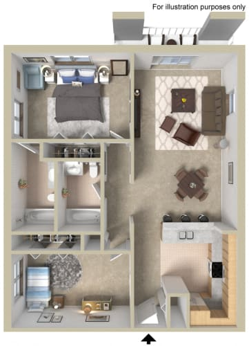 Floor Plan  Two Bedroom Large A