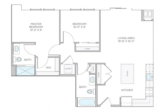 Floor Plan  Two Bed Two Bath 951 Floor Plan Ardmore apartments at The Square, Ardmore, 19003