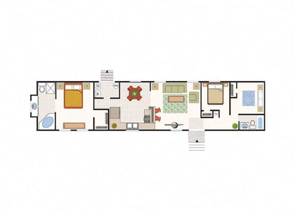 Floor Plan  Solitaire Grand 3 Bed 2 Bath Floor Plan at Heritage Oaks Rental Homes in Lincoln, NE