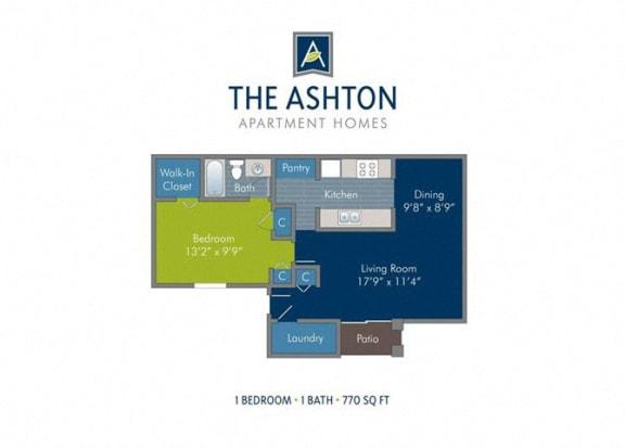 Floor Plan  1 Bedroom 1 Bath 2D Floorplan 770 sq. ft_Ashton at Richmond Hill, Richmond Hill, GA