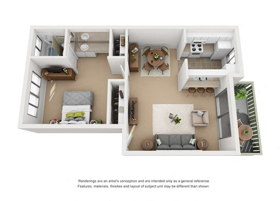 Floor Plan  1 bed 1 bath floorplan, at Pacific Oaks, Goleta