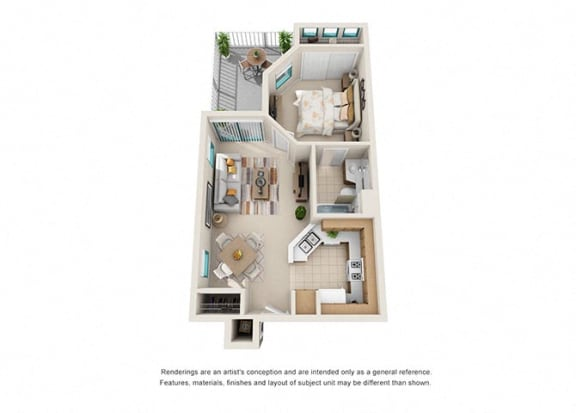 Floor Plan  1 bed 1 bath floorplan a, at Rancho Franciscan Senior Apartments, California