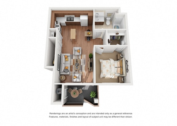 Floor Plan  1 bed 1 bath Plan 1 floorplan at Villa Del Sol, California