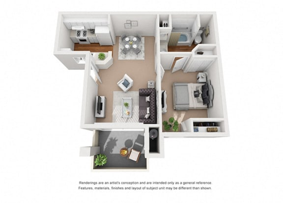 Floor Plan  Jasmine 1 Bedroom 1 Bathroom 3D Floor Plan Layout at Cypress Meadows Senior Apartments, Ventura, CA