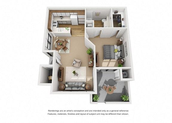 Floor Plan  Alder 1 Bedroom 1 Bathroom 3D Floor Plan Layout at Cypress Point, Ventura, CA