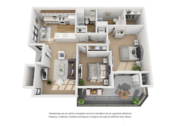 Floor Plan  Birch 2 Bedroom 2 Bathroom 3D Floor Plan Layout at Cypress Point, Ventura, 93003