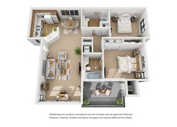 Floor Plan  Cypress 2 Bedroom 2 Bathroom Floor 3D Plan Layout at Cypress Point, Ventura, California