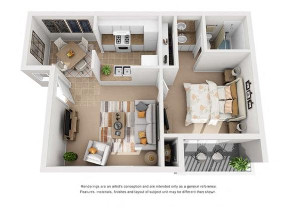Floor Plan  1 bed 1 bath floorplan, at Shepard Place, California