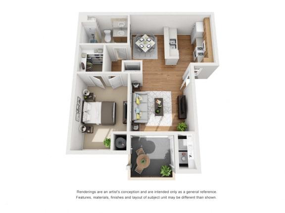 Floor Plan  One Bed One Bath 3D Floor Plan at Siena Apartments, Santa Maria, CA, 93458