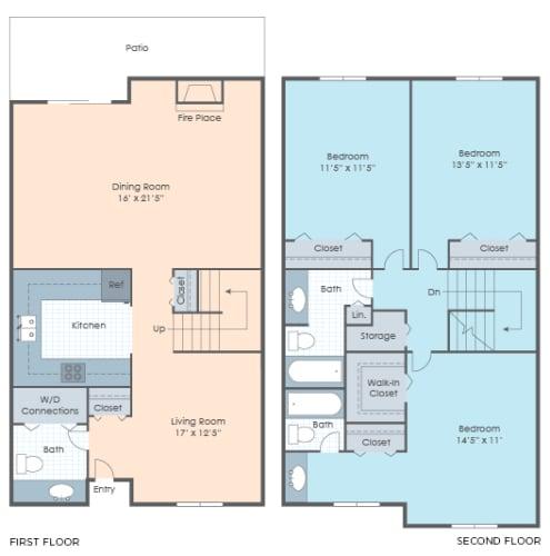 Floor Plan  3 BR Townhouse
