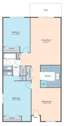 Floor Plan  2 BR Garden