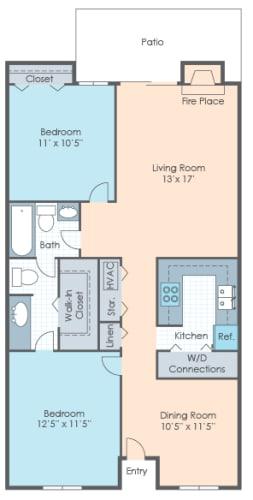 Floor Plan  2 BR Flat