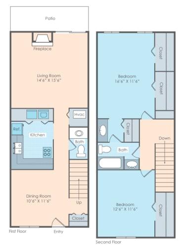 Floor Plan  2 bedroom townhome layout