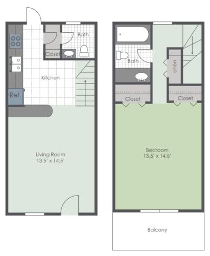 Floor Plan  One bedroom townhome