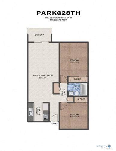 Floor Plan  The Park at 28 | Two Bedroom Floor Plan