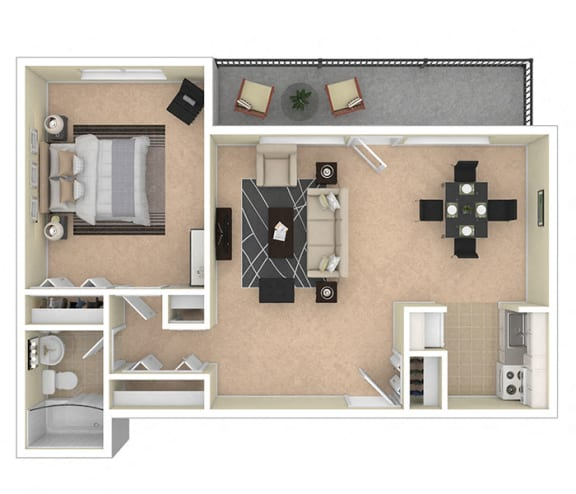 Floor Plan  2112 New Hampshire Ave 1 Bed 740 sq ft floor plan