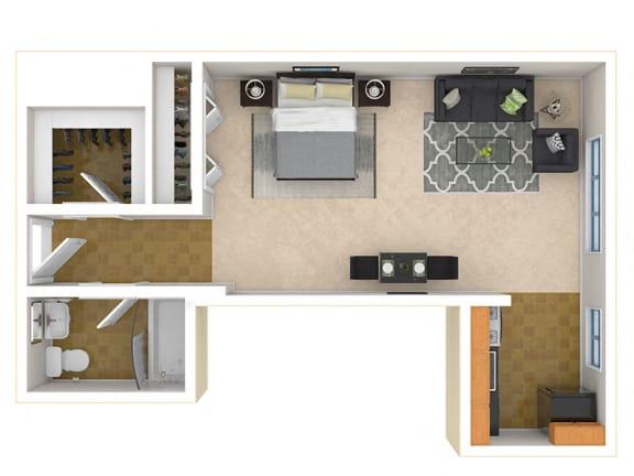 Floor Plan  Steward Tower Apartments Studio floor plan