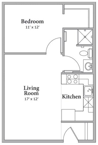 Floor Plan  1 Bed 1 Bath Floor Plan at Middle Creek Village LLC, Colorado, 81657