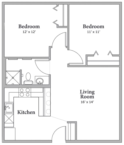 Floor Plan  2 Bedroom 1 Bathroom Floor Plan at Middle Creek Village LLC, Vail