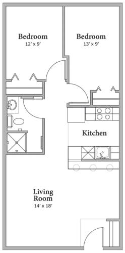 Floor Plan  2 Bed 1 Bath Floorplan at Middle Creek Village LLC, Vail, CO