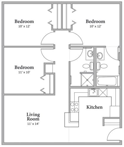 Floor Plan  3 Bed 2 Bath Floor Plan at Middle Creek Village LLC, Vail, 81657