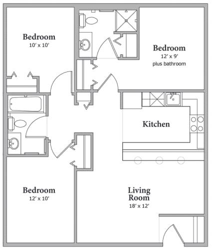 Floor Plan  3 Bedroom and 2 Bath Floor Plan at Middle Creek Village LLC, Vail, Colorado