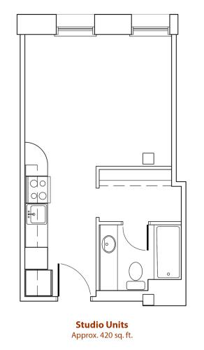 Floor Plan  Studio Floor Plan at Mercantile Housing, Denver, CO