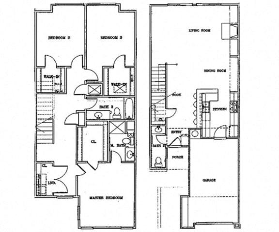 Floor Plan  Birch Court 3 Bedroom Townhouse Floorplan