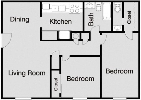Floor Plan  Clovis Courtyard 2 Bedroom Floorplan