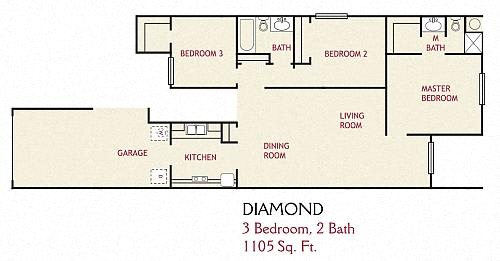 Floor Plan  3 Bedroom Diamond Floorplan