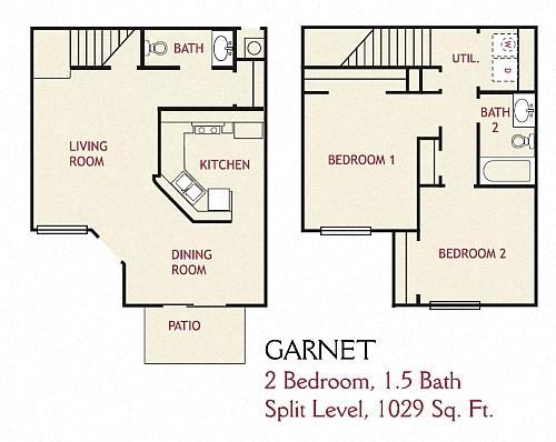 Floor Plan  2 Bedroom Garnet Floorplan