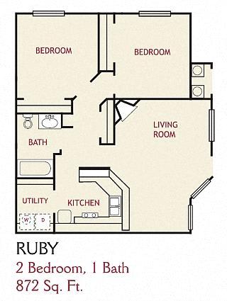Floor Plan  2 Bedroom Ruby Floorplan