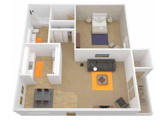 Floor Plan  1 Bedroom 1 Bath floor plan. l The Grove Apartments in Davis CA