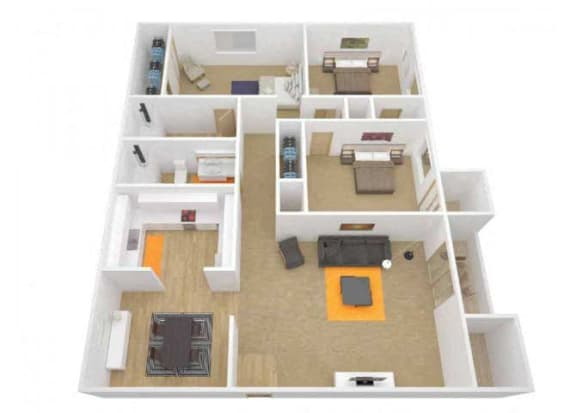 Floor Plan  3 Bedroom 2 Bath floor plan. l The Grove Apartments in Davis CA