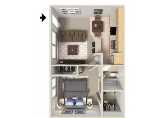 Floor Plan  The A floor plan. l J Street Apartments for Rent in Davis CA