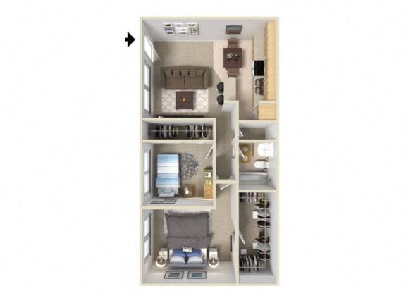 Floor Plan  The B floor plan. l J Street Apartments for Rent in Davis CA