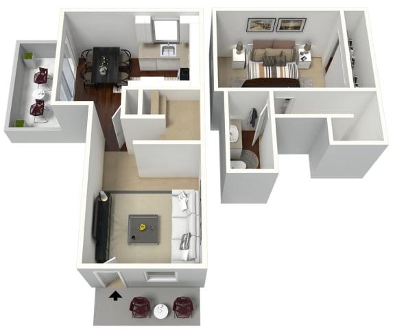 Floor Plan  1 bedroom 1 bathroom townhome 3D floor plan