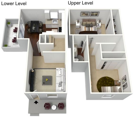 Floor Plan  2 bedroom 1 bathroom townhome 3D floor plan