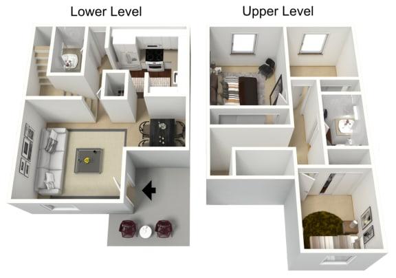 Floor Plan  3 bedroom 1.5 bathroom  townhome 3D floor plan