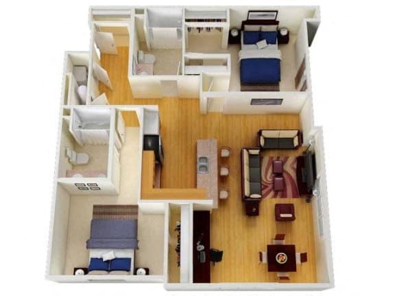 Floor Plan  Six1Five Apartments Two Bedroom Two Bathroom Floor Plan