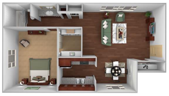 Floor Plan  1 Bed 1 Bath Floor Plan at Monaco Lakes, Denver, CO, 80222