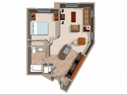 Floor Plan  1x1 Bedroom Floor Plans For Rent at Rockwood at the Casacdes in Slymar CA