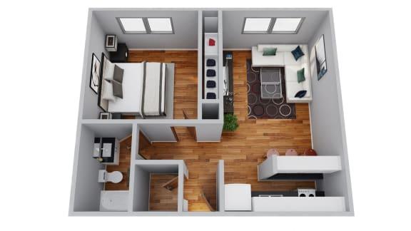 Floor Plan  The Broadmoor Apartments 1 Bedroom 3D Floor Plan